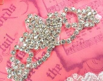 "ACT//XR243//B Rhinestone Crystal Aurora Borealis Elegant Tiara Applique 2.75/"""