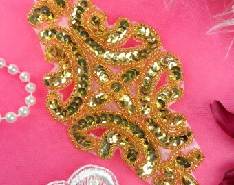 XR352 Sequin Applique Gold Beaded Bridal Patch 6/""