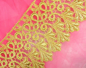 "C184 Metallic Gold Venice Lace Sewing Trim 4"" (C184-gl)"