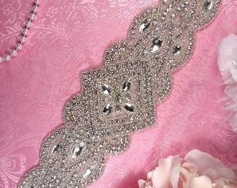 """XR205 DIY Bridal Sash Applique Crystal Rhinestone Silver Beaded Sewing Crafts Motif 13"""" (XR205-slcr)"""
