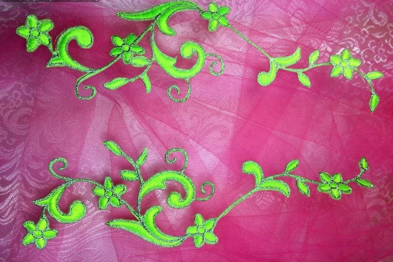 Gb90 embroidered applique neon green silver flower mirror pair etsy