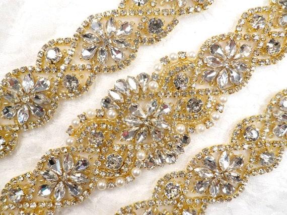 "Crystal Applique Rhinestone Silver Beaded Bridal Gown Accessories 3.75/"" GB618"