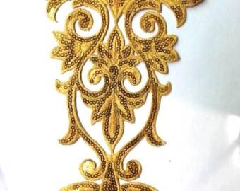"GB345 Gold Bodice Yoke Sequin Applique Floral Motif 9.75"" (GB345-gl)"