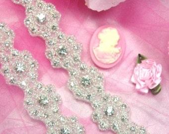 0478 Starlight Floral Crystal Clear Rhinestone Beaded Trim  (0478-slcr)