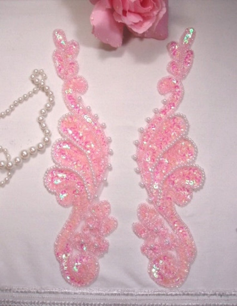 0016 ~ GOLD PEARL MIRROR PAIR SEQUIN BEADED APPLIQUES