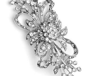 """GB203 Bridal Rhinestone Brooch Pin Silver Crystal Glass Embellishment 3.75"""" (GB203-slcr)"""