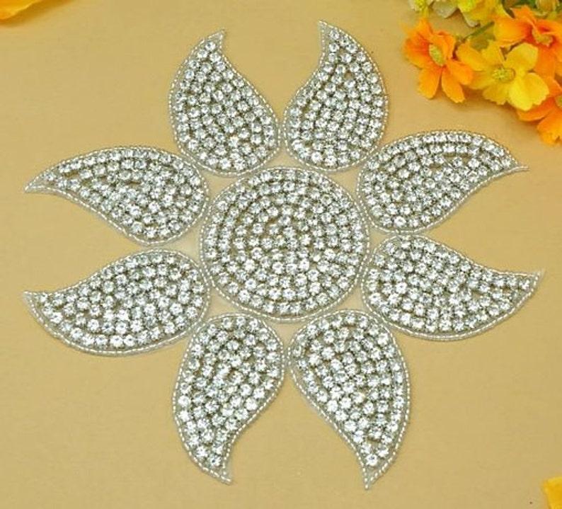 DH6-slcr DH6 Sunshine Applique Crystal Glass Rhinestone Silver Beaded 7