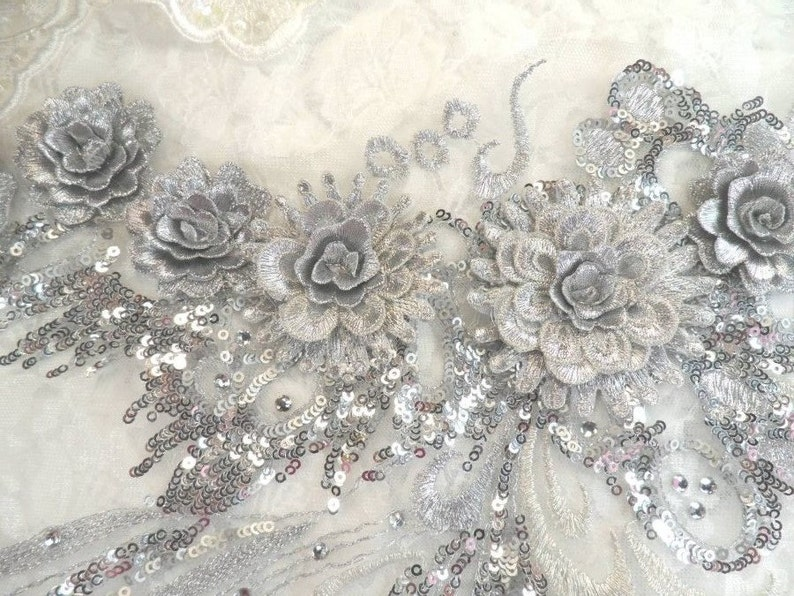 HOTFIX sequin pink wing embroidered lace applique motif patch costume