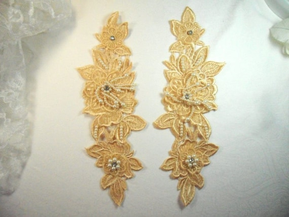 """Venice Lace 3D Gold Applique Floral Lace with Crystal Rhinestones 9/"""" DH102X"""