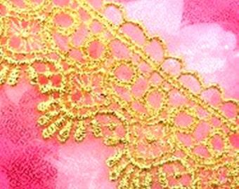 "Gold Metallic Shimmering Victorian Venice Lace Trim 1.75"" (C127-gl)"