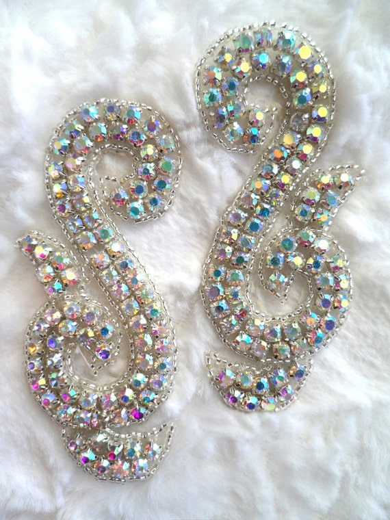 ACT//XR130//A Crystal Rhinestone Mirror Pair Silver Beaded Appliques ~ Crafts