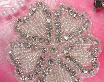 "JB99 Crystal Rhinestone Applique Silver Beaded Flower Of Hearts 3"" (JB99-slcr)"