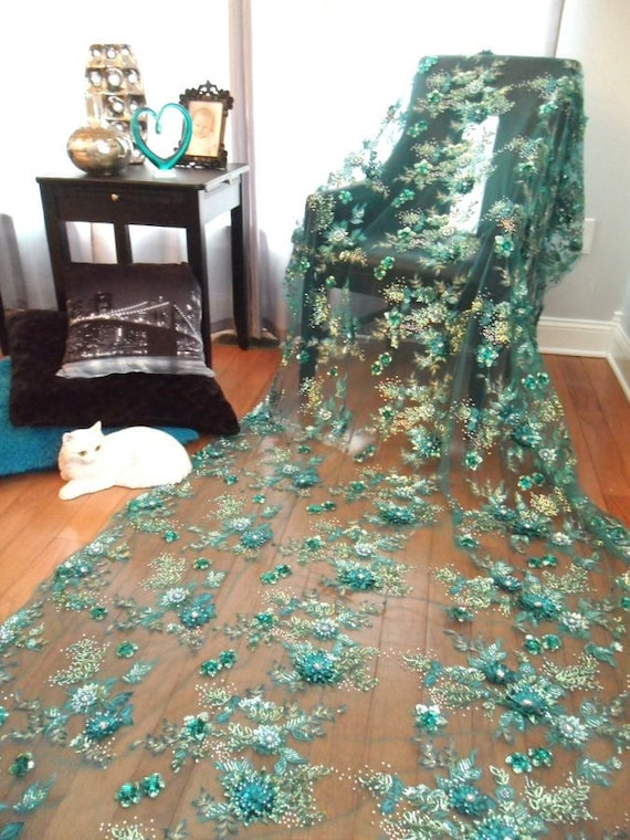 Embroidered 3D Applique Fabric 1//3 yd  Turquoise Sequin Rhinestone Floral DH78