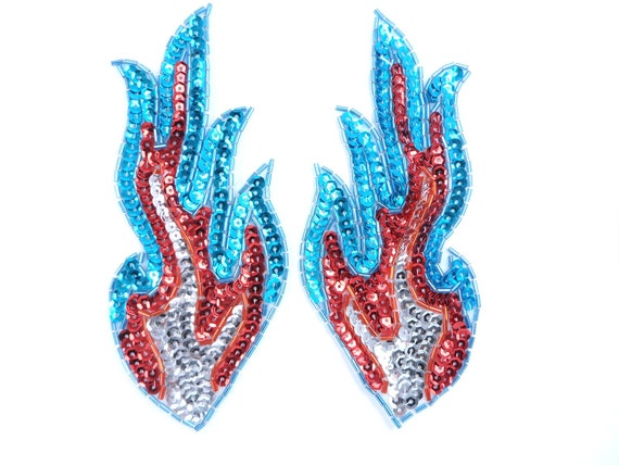 "Appliques Flames Fire Red Orange Gold Sequin Beaded MIRROR PAIR Patch 4/"" JB262X"
