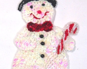 0107  Snowman Sequin Beaded  Applique 6""