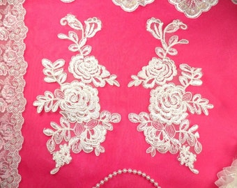 """Mirror Pair White Floral Venise Lace Embroidered Appliques 9.5"""" (BL85X-wh)"""