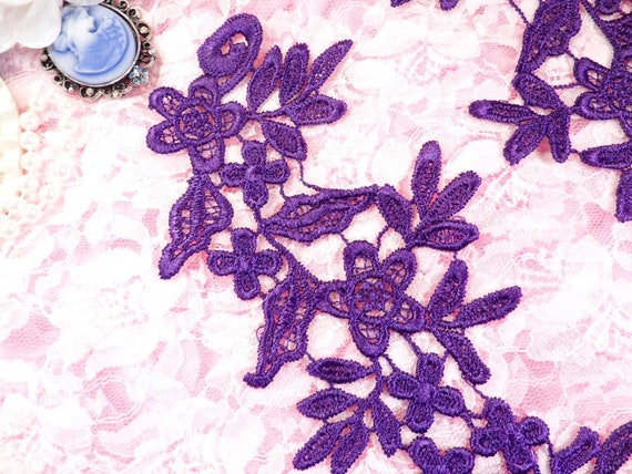 Embroidered Floral Applique Mirror Pair Purple Clothing Craft Motif BL96X