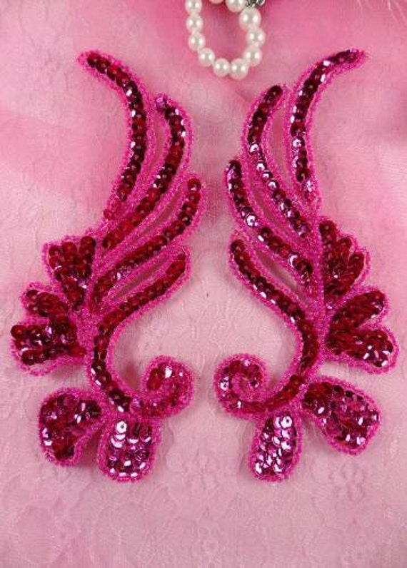 "0182 ~ PURPLE MIRROR PAIR SEQUIN BEADED APPLIQUES 6/"" Sewing Crafts Motif Patch @"