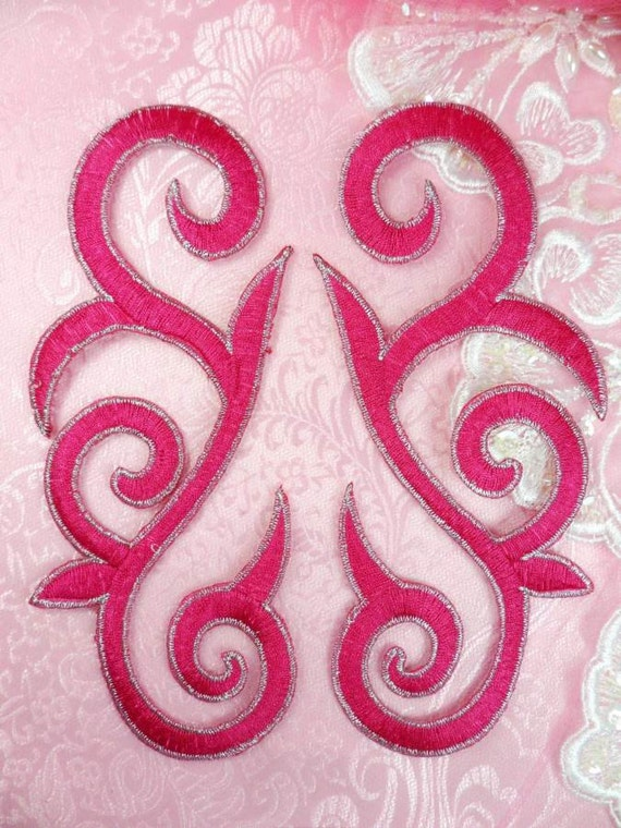 Various Colours Left /& Right Scroll Design Iron On Applique x 1 pair