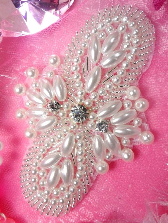 """JB56 Silver Pearl  Beaded Rhinestone Applique 2.75/""""  VISIT OUR STORE 4000 ITEMS"""