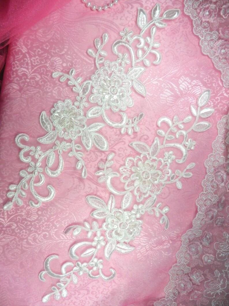 "Mirror Pair Appliques White Floral Venise Lace Beaded Sequin 7/"" DH50X-wh"