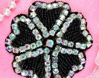 "JB99 Rhinestone Applique AB Black Beaded Flower Of Hearts 3"" (JB99-bkab2)"