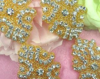 """Gold Backing Cinderella Genuine Rhinestone Beaded Trim 2"""" (0477-glcr)"""