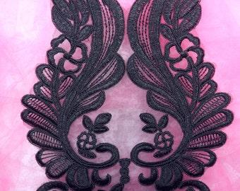 """BL60 Black Floral Venise Lace Applique 12"""" (BL60-bk)"""