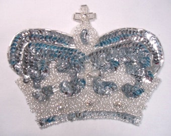 0008  Silver Crown Sequin Beaded Applique