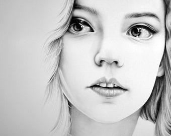 Beth Harmon Queen's Gambit Fine Art Pencil Drawing Portrait Signed Print