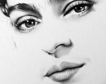 Frida Kahlo Minimalism Original Pencil Drawing Fine Art Portrait