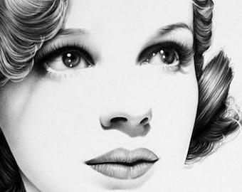 Judy Garland Pencil Drawing Fine Art Portrait Signed Print