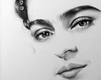 Frida Kahlo Fine Art Pencil Drawing Portrait Signed Print