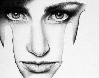 Idina Menzel Wicked  Pencil Drawing Fine Art Portrait Print Hand Signed by Artist