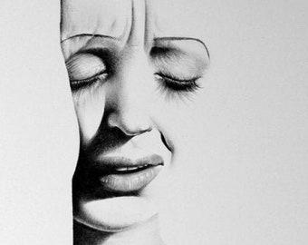 Edith Piaf Fine Art Pencil Drawing Portrait Signed Print