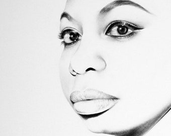 Nina Simone  Fine Art Pencil Drawing Portrait Signed Print