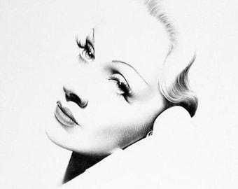 Marlene Dietrich Minimalism Original Pencil Drawing Fine Art Portrait