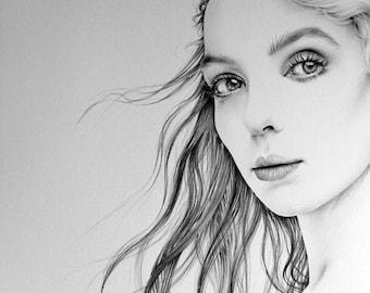 Jodie Comer Original Pencil Drawing Minimalism Fine Art Portrait