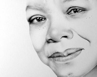 Maya Angelou Minimalism Original Pencil Drawing Fine Art Portrait