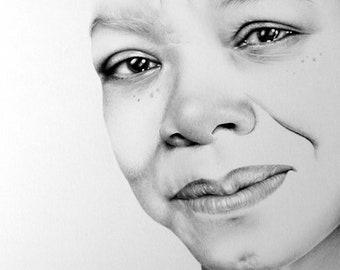 Maya Angelou Fine Art Pencil Drawing Portrait Signed Print