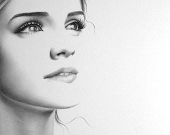 Emma Watson Pencil Drawing Fine Art Portrait PRINT Hand Signed