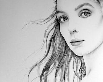 Jodie Comer Pencil Drawing Fine Art Portrait  PRINT Hand Signed