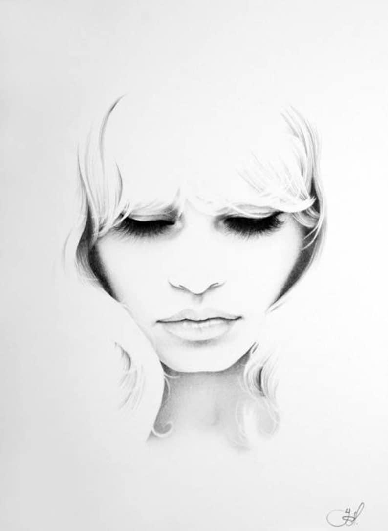 Brigitte Bardot  Pencil Drawing Fine Art Portrait Print Hand image 0