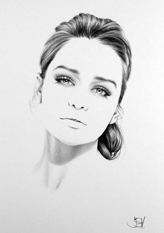 Emilia clarke pencil drawing fine art portrait print hand