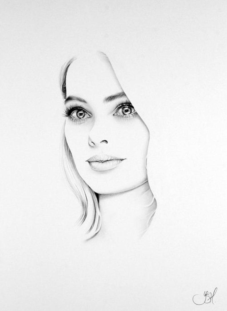 Margot Robbie Minimalism Original Pencil Drawing Fine Art image 0
