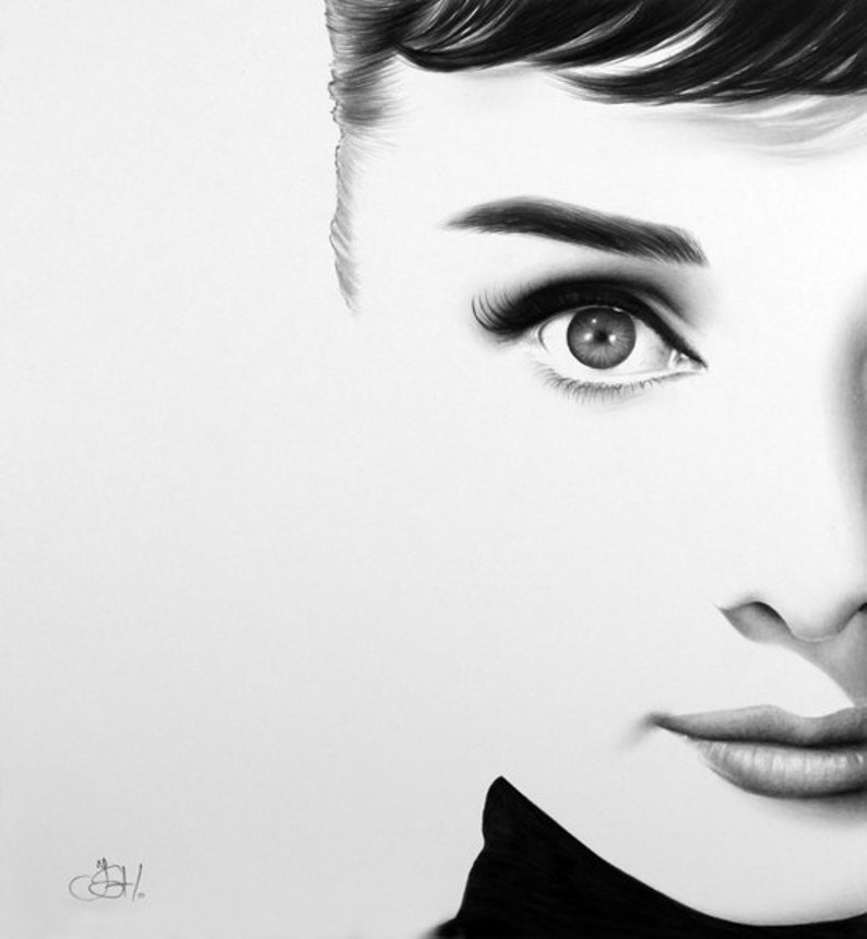 Audrey Hepburn  Fine Art Pencil Drawing Portrait Signed Print image 0