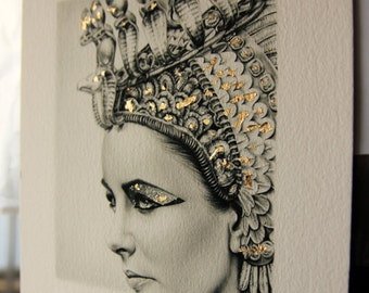 Elizabeth Taylor Pencil Portrait Drawing Fine Art LIMITED EDITION Gold Leaf Signed Print