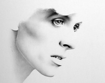 David Bowie Minimalism Original Pencil Drawing Fine Art Portrait