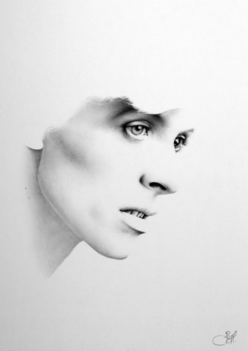 David Bowie Minimalism Original Pencil Drawing Fine Art image 0
