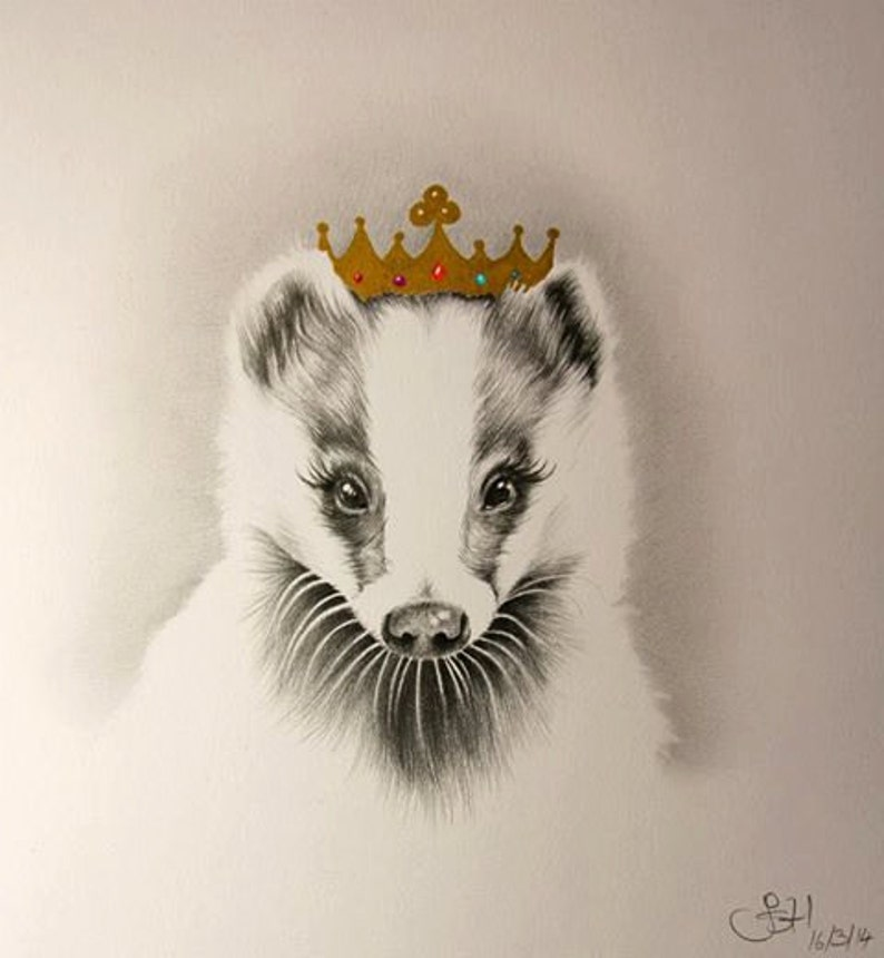 Badger Queen Limited Edition Pencil Drawing Nursery image 0